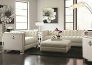 Mid-century Modern White Faux Leather Sofa Loveseat Living Room Couch Set Ig7d
