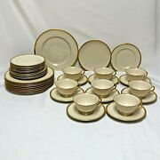 36 Pc Franciscan Wilshire Merced Rim Luncheon Set Plates Tea Cups Saucers Lunch