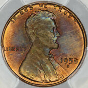 1958-d Lincoln Wheat Cent Penny Pcgs Ms64rb Unc Intense Toned Color Choice Mr