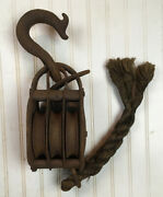 Antique Block And Tackle Completely Iron Pulley Triple Wheel Factory Tool