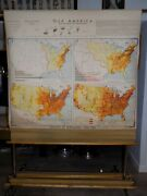 1949 Denoyer Geppert United States Population Wall Map Large Pull Down R.b.blair