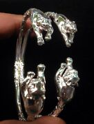 Pair Of New Tiger Head Handmade West Indian Sterling Silver Bangles
