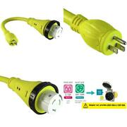 Marvine Cable Shore Power Cord Adapter 15amp Male Plug 5-15p To 50amp Twist Lock