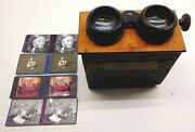 Antique 3d Stereoscope Viewer Stereograph Stereoview W/4 Cards For Restoration