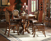 Old World Cherry Counter Height Dining Room 5pcs Round Table And Chairs Set Iaci
