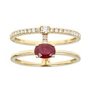 Gin And Grace 18k Yellow Gold Oval-cut Natural Ruby And Diamond Ring Size 6,7,8