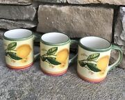 Set Of 3 New Villeroy And Boch French Country Lemons Coffee Mugs Cups Portugal