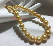 Aaaaa Long 2216-13mm Natural Real South Sea Deep Golden Pearl Necklace 14k Gold