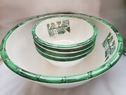 New Tommy Bahama Melamine Tropical Green Bamboo Serving Bowl And 4 Cereal Bowls