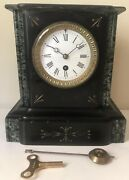 Antique Ansonia Black Gray Gold Marble Mantle Clock Serviced 9.5 X 9