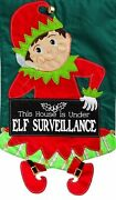 New Large Evergreen Applique Christmas Flag Elf Surveillance Cute And Colorful