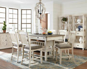 Cottage White And Brown 7 Pieces Dining Room Kitchen Set New Table And Chairs Ic1g