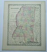 Antique Map Mississippi 1856 Coltonand039s Maps 1st Edition