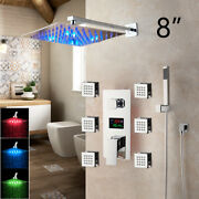 Led Shower Faucet Set Rainfall Shower Head 6 Body Sprays Wall Mounted Mixer Tap