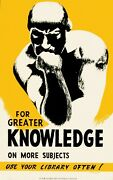 For Greater Knowledge Statue Chicago Library Vintage Deco Wpa Art Poster 24x36