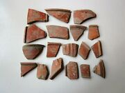 Large Lot Of 18 Ancient Roman Fine Flower Pottery Artifacts I - Ii Ad.