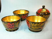 Antique Toleware Russia Russian 4 Wooden Bowls Painted Folk Art Various Sizes