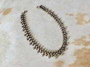 Early Romantic Antique Victorian Sterling Silver Necklace Est. 1845