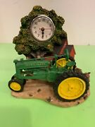 Vintage John Deere Tractor Scale Model Red Barn And Tree Clock Farm House Display