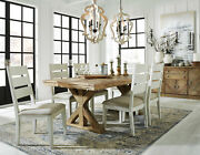 Country Cottage Brown Finish 7 Pieces Dining Room Table And White Chairs Set Ic0k