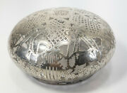 Antique Large Sterling Silver Overlay Glass Dome Ginger Jar Cover Lid Top
