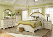 Cottage Brown And White Finish 5 Pieces Bedroom Set W/ Queen Size Panel Bed Ia7m