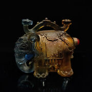 Chinese Antique Hand Carved Yellow Glass Elephant Model Snuff Bottle Ll045