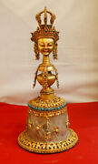 Crystal Copper Gold Plated Bell 12.5 H Handmade Nepal