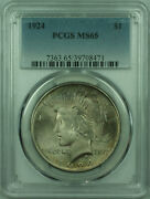 1924 Peace Silver Dollar 1 Coin Pcgs Ms-65 Toned 29 D