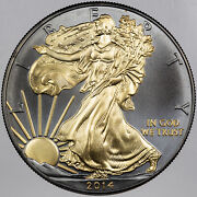 2014 U.s Dollar Black Ruthenium And 24kt Gold Gilded Silver Coin In Box W/coa