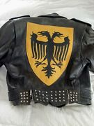 Vintage Leather Biker Jacket- Russian Or German Size 40 Small