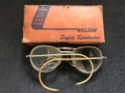 Vintage Willson Goggles Safety Glasses Steampunk Motorcycle Aviation W/ Box Wv30