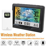 Wireless Lcd Digital Weather Station Calendar Thermometer Humidity Alarm Clock