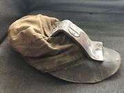 Vintage Coal Miners Hat Cloth Canvas W/ Leather Carbide Lamp Holder Coal King 1