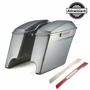 Brilliant Silver 4.5 Stretched Extended Saddlebags Normal Lids For 2014+ Harley