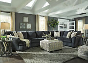 Modern Sectional Living Room Furniture - 4p Dark Gray Fabric Sofa Couch Set Ig2g
