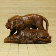 Chinese Natural Boxwood Hand Carved Tiger Statues 10319