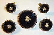 Antique Victorian 14k Gold Onyx Seed Pearl Mourning Brooch Pins And Earrings Set