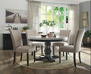 Modern Design 5pcs Dining Room Set - Round White Marble Table And Beige Chairs Acm