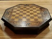 Antique 19 Century Inlaid Wooden Chess/checkers/backgammon Chest 17x 18 X 3