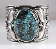 Turquoise Navajo Sterling Silver Bracelet Rare Web Hubei Handmade By Andy Cadman