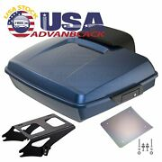 Advanblack Big Blue Pearl Razor Tour Pack Trunk Luggage For 97+ Harley Touring