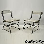 Antique French Industrial Wrought Iron Wooden Slat Seat Side Chairs - A Pair
