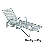 Brown Jordan Tamiami Green Aluminum Vinyl Strap Pool Chaise Lounge Chair