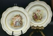 Pair Of Stunning Antique 1899 Z.s And C O Bavaria Germany Plates Women And Cupid