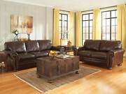 New Traditional Brown Leather Living Room Furniture Sofa Couch Loveseat Set Ig1i