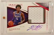 2017-18 Immaculate Deandrsquoaaron Fox Rookie Premium Patch Auto Red Rpa /15 Kings Rc