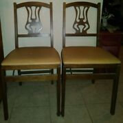 2 Vintage Folding Chairs Antique Wood Portable Mid Century Modern Event Stakmore