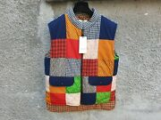 3980 Band Flag Patchwork Padded Relaxed Oversized Gilet Vest Size 46 L