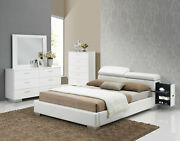 New Modern White Wood And Leatherette Bedroom Furniture - 4pcs Queen Size Set Iabn